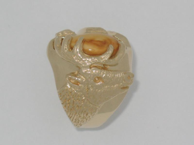 14K Yellow Gold Elk Tooth Ring