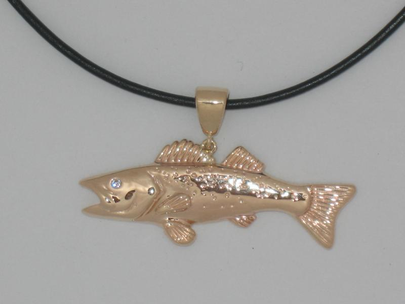 Walleye Pendant with White Diamond Eye