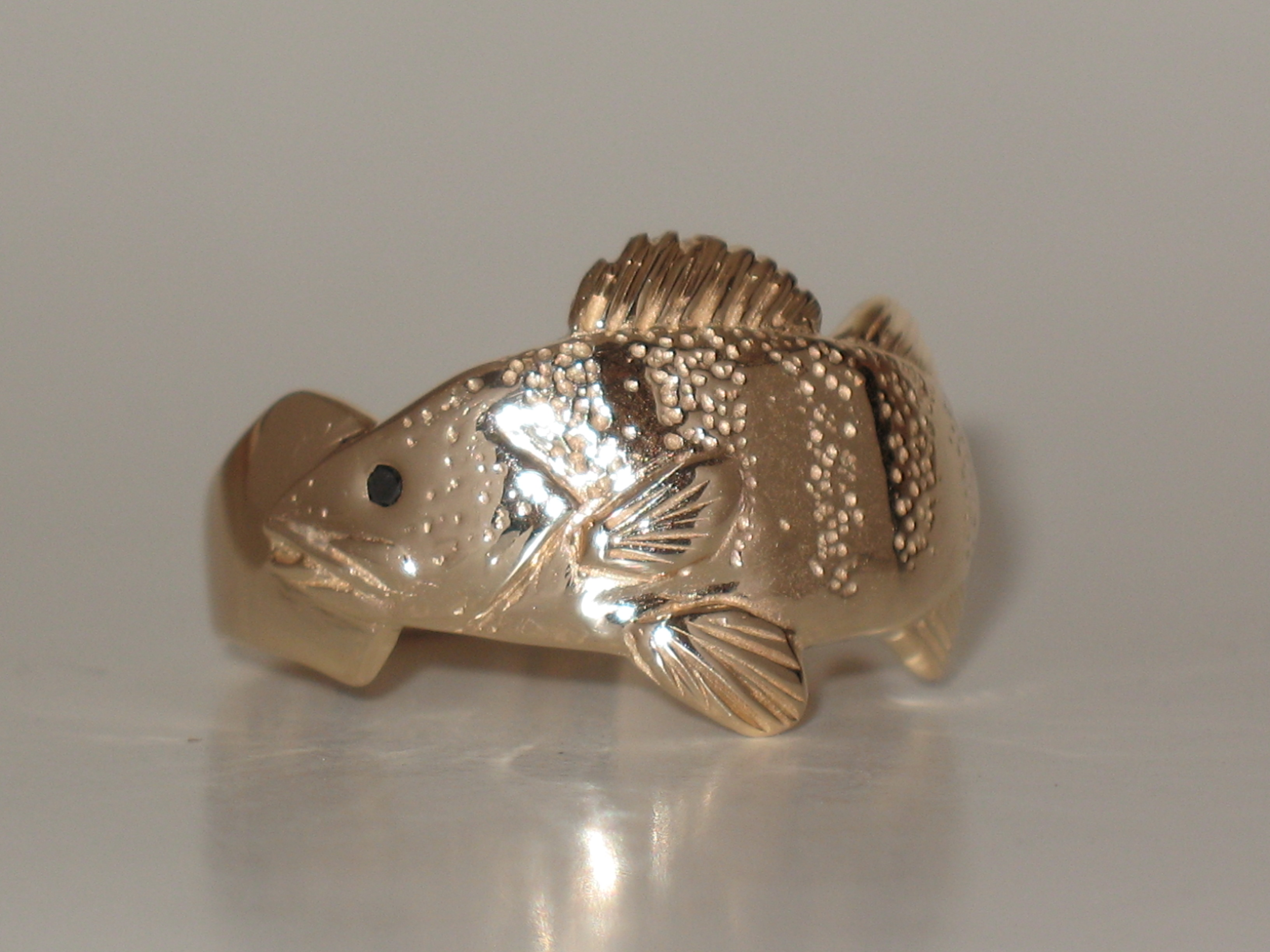 Perch Ring with a Black Diamond Eye