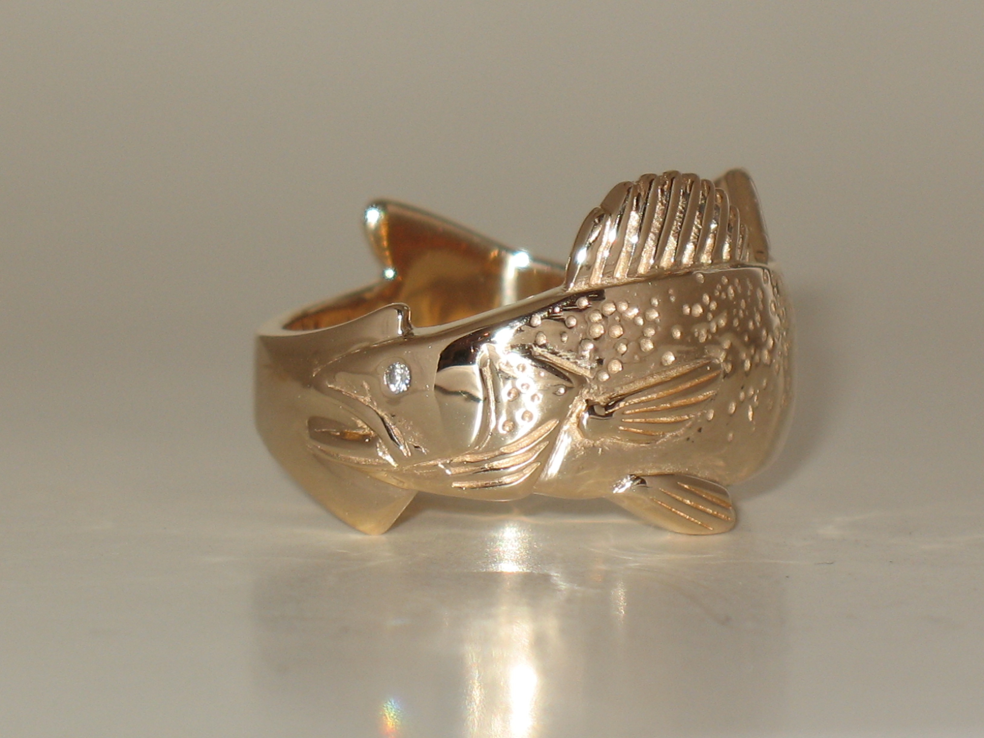 Walleye Ring with White Diamond Eye