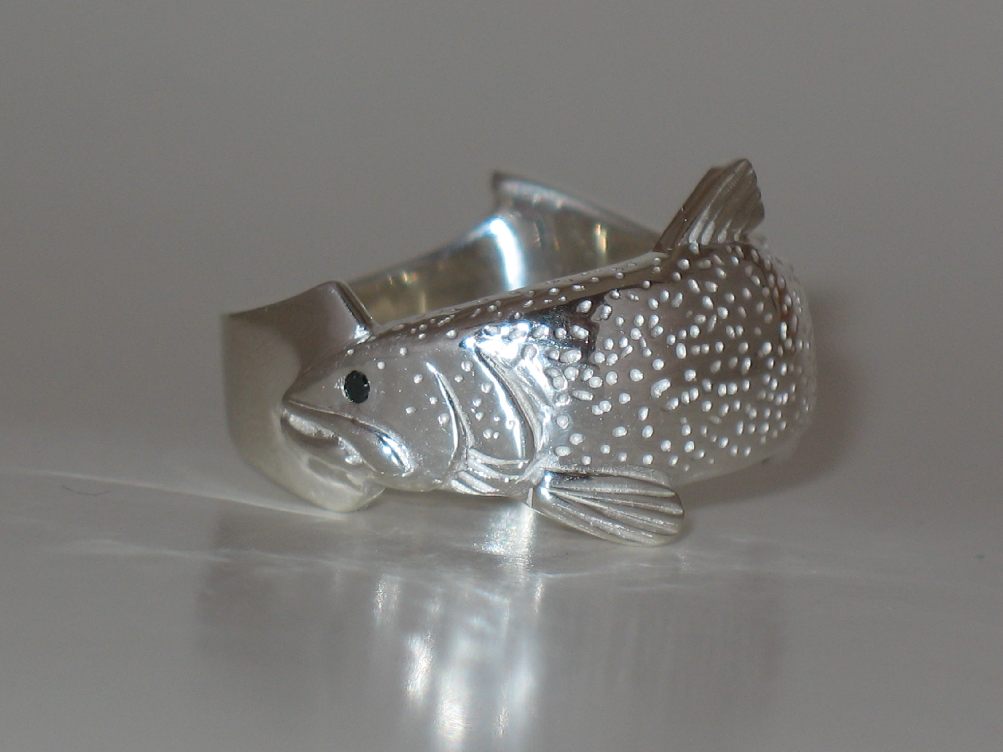 Lake Trout Ring with Black Diamond Eye
