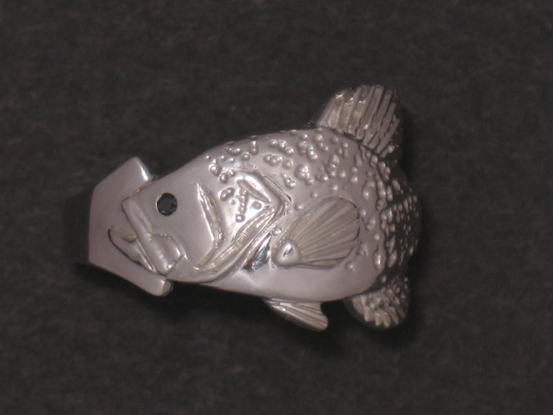 Sterling Silver Crappie Ring with Black Diamond Eye
