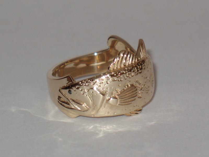Largemouth Bass ring with black diamond eye