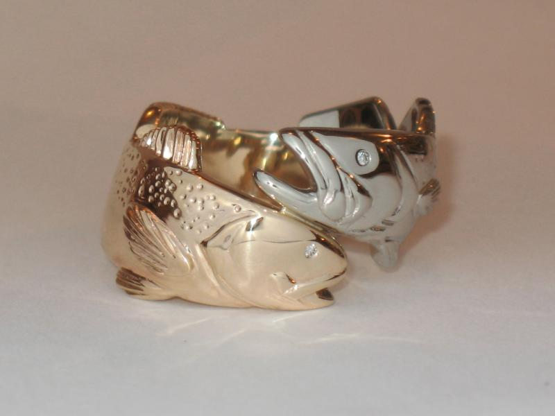 14K Gold-White Gold Sea Trout Ring