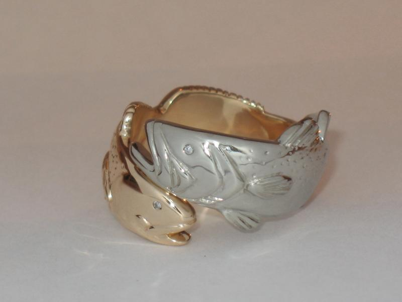 14K Gold-White Gold Redfish Ring
