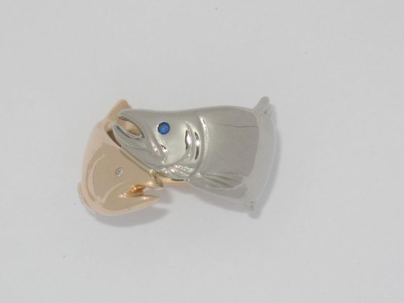 14K Gold/White Gold Sockeye Salmon Ring