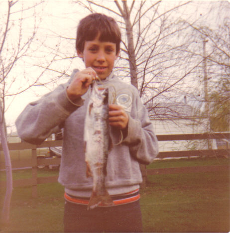 Young Paul with rainbow trout